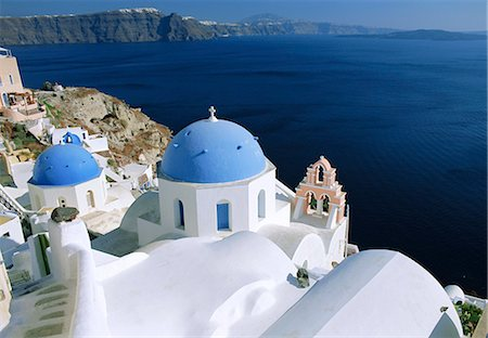 Church dome, Thira (Fira), Santorini, Cyclades Islands, Greece, Europe Stock Photo - Rights-Managed, Code: 841-02715940