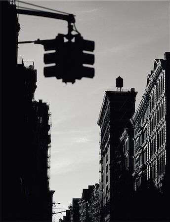 silhouette black and white - Soho, New York City, New York State, United States of America, North America Stock Photo - Rights-Managed, Code: 841-02716281