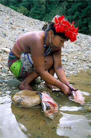 panama traditional costume - Embera Indian cleaning fish, Soberania Forest National Park, Panama, Central America Stock Photo - Rights-Managed, Code: 841-02717489