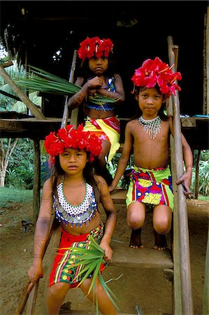 panama traditional costume - Young Embera Indians, Soberania Forest National Park, Panama, Central America Stock Photo - Rights-Managed, Code: 841-02717492