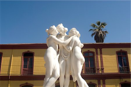 Greek like statue of three women embracing, La Serena, Chile, South America Stock Photo - Rights-Managed, Code: 841-02718575