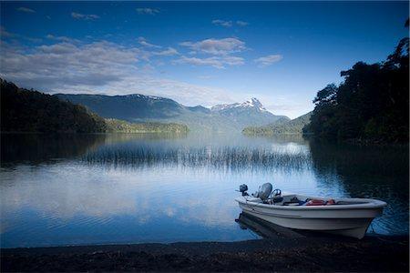Fishing Boat on Lago Espejo, Siete Lagos region, Nahuel Huapi National Park, Rio Negro, Argentina, South America Stock Photo - Rights-Managed, Code: 841-02719566