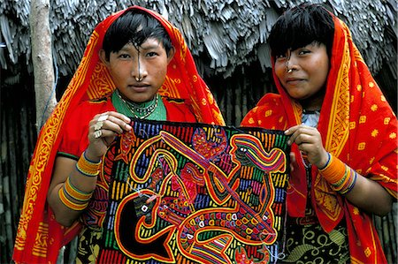 panama traditional costume - Two Cuna (Kuna) Indian women with mola textile, San Blas, Panama, Central America Stock Photo - Rights-Managed, Code: 841-02710754