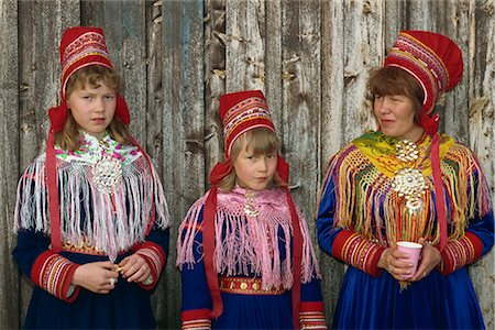 Portrait of Sami girls and woman, Lapps, in traditional costume for indigenous tribes meeting, at Karesuando, Sweden, Scandinavia, Europe Stock Photo - Rights-Managed, Code: 841-02711648