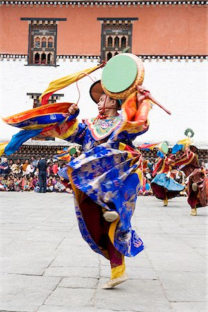 Buddhist festival (Tsechu), Trashi Chhoe Dzong, Thimphu, Bhutan, Asia Stock Photo - Rights-Managed, Code: 841-02720980