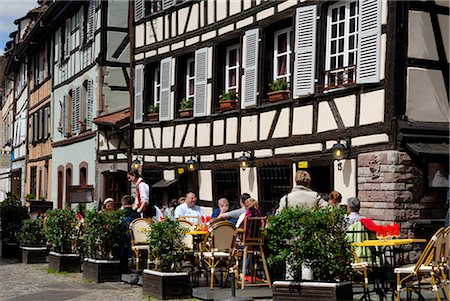 Restaurant, timbered buildings, La Petite France, Strasbourg, Alsace, France, Europe Stock Photo - Rights-Managed, Code: 841-02721598