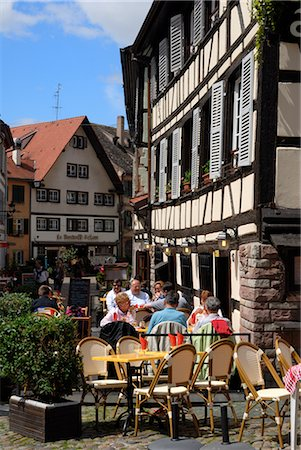 Restaurant, timbered buildings, La Petite France, Strasbourg, Alsace, France, Europe Stock Photo - Rights-Managed, Code: 841-02721599