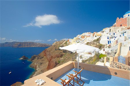 Terrace in Oia, Santorini, Cyclades, Greek Islands, Greece, Europe Stock Photo - Rights-Managed, Code: 841-02722547