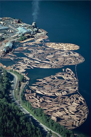 Aerial view of logs in the river beside a saw mill in British Columbia, Canada, North America Stock Photo - Rights-Managed, Code: 841-02824677