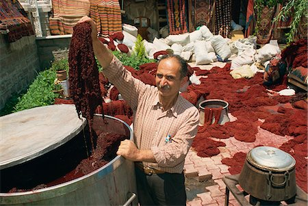 dyed - Dyeing wool in outdoor bazaar, Konya, Anatolia, Turkey, Asia Minor, Eurasia Stock Photo - Rights-Managed, Code: 841-02831820