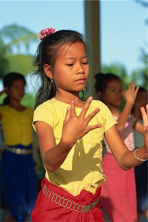 Girl training at Dance School, Phnom Penh, Cambodia, Indochina, Southeast Asia, Asia Stock Photo - Rights-Managed, Code: 841-02900026