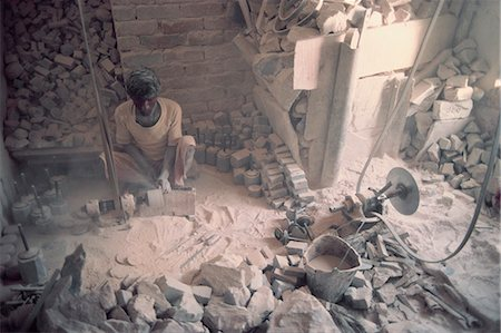 Soap stone carver in factory, Vanarasi, Uttar Pradesh state, India, Asia Stock Photo - Rights-Managed, Code: 841-02900992