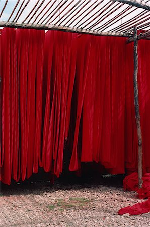 dyed - Dyed cotton hanging to dry, Rajasthan state, India, Asia Stock Photo - Rights-Managed, Code: 841-02901922