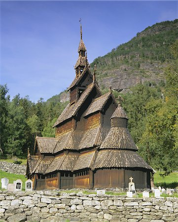 stave - Borgund Stave Church, the best preserved 12th century stave church in the country, Borgund, Western Fjords, Norway, Scandinavia, Europe Stock Photo - Rights-Managed, Code: 841-02902905