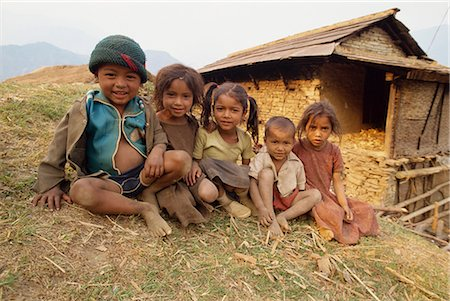 Portrait of young children, Gandruk, Nepal, Asia Stock Photo - Rights-Managed, Code: 841-02903165