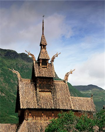 stave - The best preserved 12th century stave church in Norway, Borgund Stave Church, Western Fjords, Norway, Scandinavia, Europe Stock Photo - Rights-Managed, Code: 841-02903600