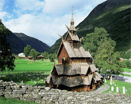 stave - The best preserved 12th century stave church in Norway, Borgund Stave Church, Western Fjords, Norway, Scandinavia, Europe Stock Photo - Rights-Managed, Code: 841-02903601