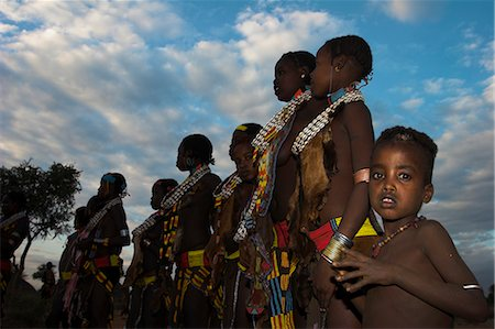 Hamer (Hamar) people at Evangadi dancing (Hamer night dance), Dombo village, Turmi, Lower Omo Valley, Ethiopia, Africa Stock Photo - Rights-Managed, Code: 841-02917051