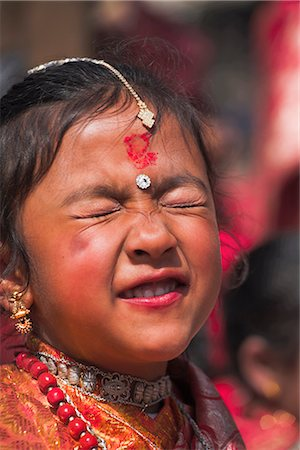 Portriat of a young girl, Kumari (Living Goddess festival), Durbar Square, Kathmandu, Nepal, Asia Stock Photo - Rights-Managed, Code: 841-02917287