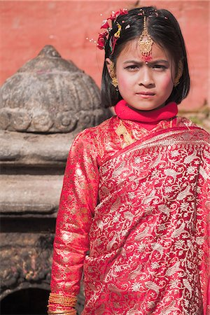 Portriat of a young girl, Kumari (Living Goddess festival), Durbar Square, Kathmandu, Nepal, Asia Stock Photo - Rights-Managed, Code: 841-02917288