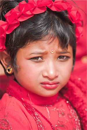Portriat of a young girl, Kumari (Living Goddess festival), Durbar Square, Kathmandu, Nepal, Asia Stock Photo - Rights-Managed, Code: 841-02917289