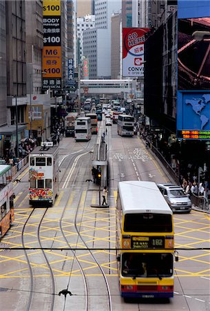 Trams, Des Voeux Road, Central, Hong Kong Island, Hong Kong, China, Asia Stock Photo - Rights-Managed, Code: 841-02924568