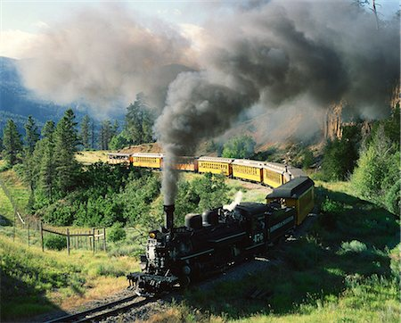 steam engine - Durango and Silverton vintage steam engine, Hermosa, Colorado, United States of America, North America Stock Photo - Rights-Managed, Code: 841-02920085