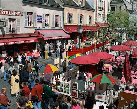 Market stalls and outdoor cafes in the Place du Tertre, Montmartre, Paris, France, Europe Stock Photo - Rights-Managed, Code: 841-02944449