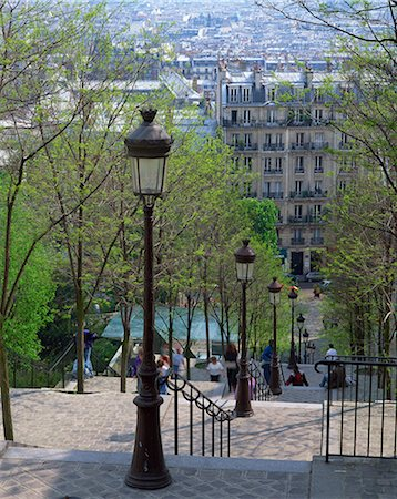 Looking down the famous steps of Montmartre, Paris, France, Europe Stock Photo - Rights-Managed, Code: 841-02944453