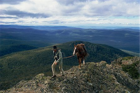 The man from Snowy Mountains and his horse, Australia, Pacific Stock Photo - Rights-Managed, Code: 841-02945436