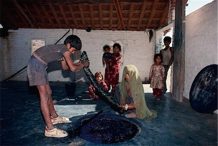 dyed - Dyeing using vegetable dyes, Bagru village, near Jaipur, Rajasthan state, India, Asia Stock Photo - Rights-Managed, Code: 841-02945549