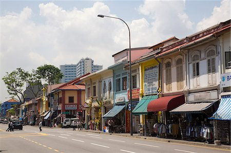 Colourful old shophouses in Serangoon Road, main commercial thoroughfare in Little India, Singapore, Southeast Asia, Asia Stock Photo - Rights-Managed, Code: 841-02946329