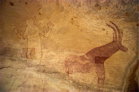 prehistoric - Huge painting of god figure and sable antelope on rock wall, Tassili Plateau, Algeria, North Africa, Africa Stock Photo - Rights-Managed, Code: 841-02946641