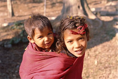 Head and shoulders portrait of two children, Kathmandu, Nepal, Asia Stock Photo - Rights-Managed, Code: 841-02946781
