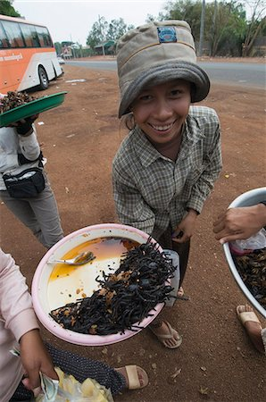 Cooked spiders for sale in market, Cambodia, Indochina, Southeast Asia, Asia Stock Photo - Rights-Managed, Code: 841-02947405