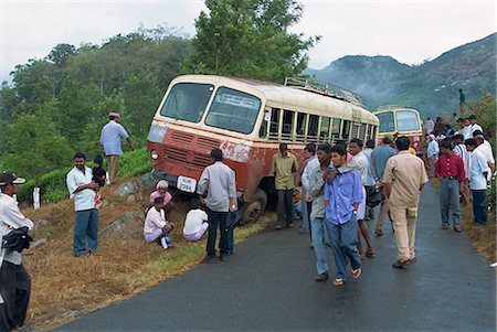 Bus accident near Munnar, Western Ghats, Kerala state, India, Asia Stock Photo - Rights-Managed, Code: 841-02991516