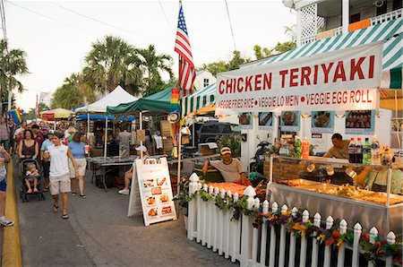 food stalls - Goombay Festival in Bahama Village, Petronia Street, Key West, Florida, United States of America, North America Stock Photo - Rights-Managed, Code: 841-02993108