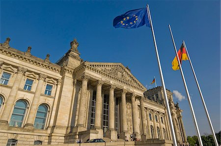 european union - The EU and German national flags flying outside the famous Reichstag parliament building, Berlin, Germany, Europe Stock Photo - Rights-Managed, Code: 841-03032415