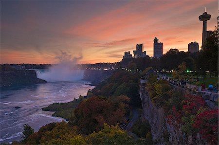 Sunset at the Horseshoe Falls waterfall on the Niagara River, Niagara Falls, Ontario, Canada, North America Stock Photo - Rights-Managed, Code: 841-03032464