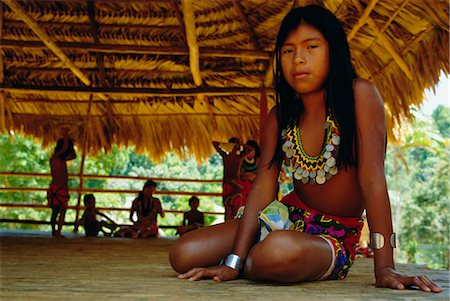 panama traditional costume - Portrait of an Embera Indian girl, Chagres National Park, Panama, Central America Stock Photo - Rights-Managed, Code: 841-03032971