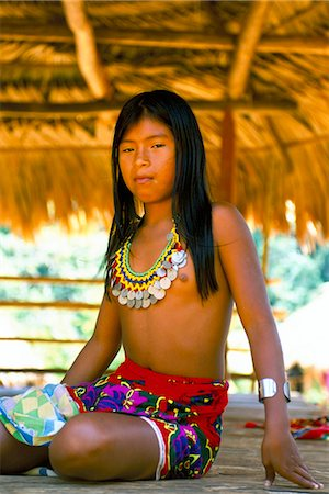 panama traditional costume - Embera Indian, Chagres National Park, Panama, Central America Stock Photo - Rights-Managed, Code: 841-03032972