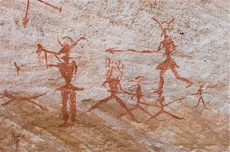 prehistoric - Prehistoric rock paintings, Akakus, Sahara desert, Fezzan, Libya, North Africa, Africa Stock Photo - Rights-Managed, Code: 841-03058539