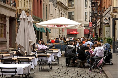 restaurant new york manhattan - Outdoor dining on Stone Street, Lower Manhattan, New York City, New York, United States of America, North America Stock Photo - Rights-Managed, Code: 841-03066368
