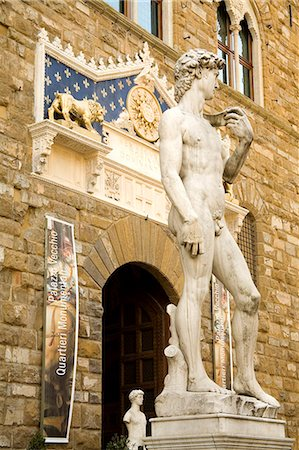 statue of david - Statue of David, Palazzo Vecchio, Florence, UNESCO World Heritage Site, Tuscany, Italy, Europe Stock Photo - Rights-Managed, Code: 841-03066528