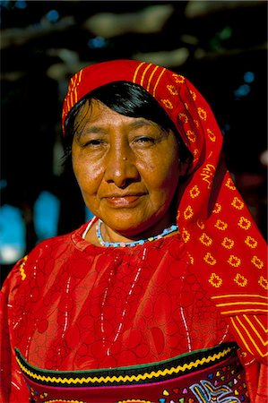 panama traditional costume - Portrait of a Kuna (Cuna) woman, Contadora island, Las Perlas archipelago, Panama, Central America Stock Photo - Rights-Managed, Code: 841-03060490