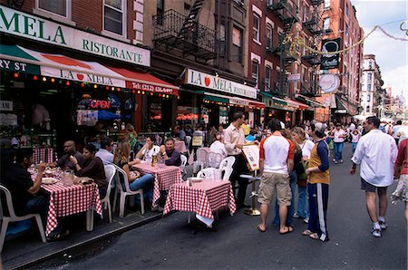 restaurant new york manhattan - People sitting at an outdoor restaurant, Little Italy, Manhattan, New York, New York State, United States of America, North America Stock Photo - Rights-Managed, Code: 841-03061839