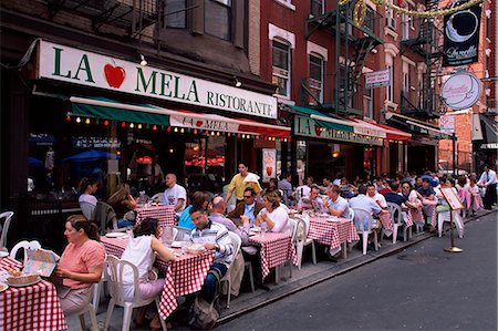 restaurant new york manhattan - People sitting at an outdoor restaurant, Little Italy, Manhattan, New York, New York State, United States of America, North America Stock Photo - Rights-Managed, Code: 841-03061840