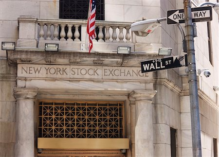 stock exchange building - The New York Stock Exchange, Wall Street, Manhattan, New York City, New York, United States of America, North America Stock Photo - Rights-Managed, Code: 841-03454485