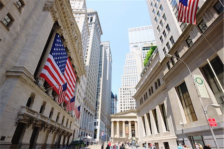 stock exchange building - The New York Stock Exchange, Broad Street, Wall Street, Manhattan, New York City, New York, United States of America, North America Stock Photo - Rights-Managed, Code: 841-03454482