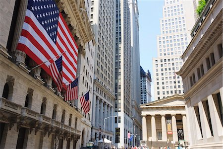 stock exchange building - The New York Stock Exchange, Broad Street, Wall Street, Manhattan, New York City, New York, United States of America, North America Stock Photo - Rights-Managed, Code: 841-03454483